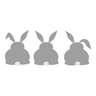 ウサギのシルエットコレクションイースターバニーデザインベクトル背景ウサギのシルエットアイコン
