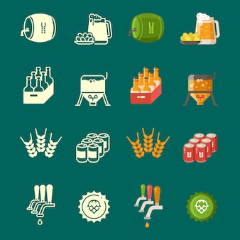Silhouettes and colorful flat beer icons set