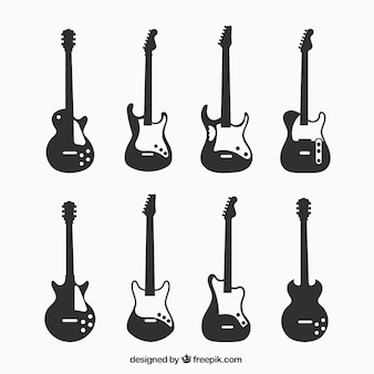 Silhouettes of eight electric guitars
