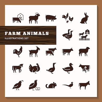 Silhouettes of farm animals