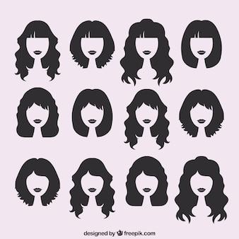Sagome di tagli di capelli femminili