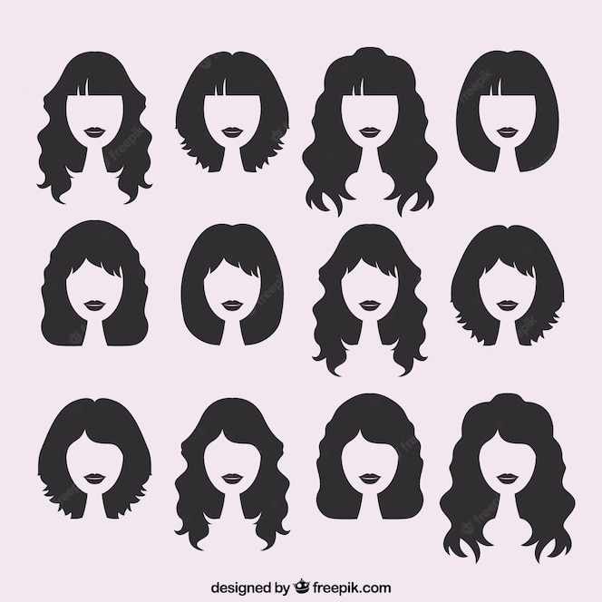 Free Vector Silhouettes Of Female Haircuts