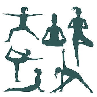 Silhouettes fo women doing yoga