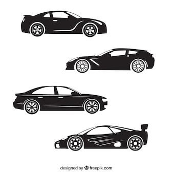 Silhouettes of four sports car