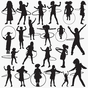 Silhouettes girl with hula hoop set