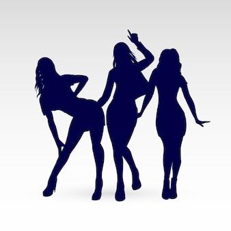 Silhouettes of go-go dance girls