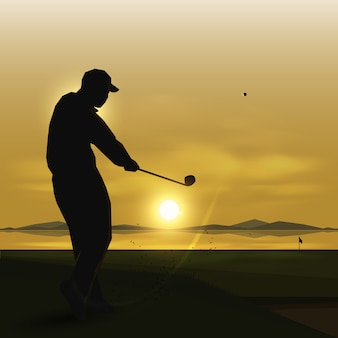 Silhouettes golfer swing