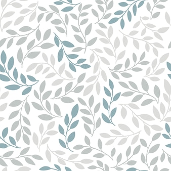 Silhouettes of identical leaves seamless pattern. hand drawn illustration in simple scandinavian doodle cartoon style. isolated gray-blue branches on a white background
