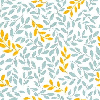 Silhouettes of identical leaves seamless pattern.