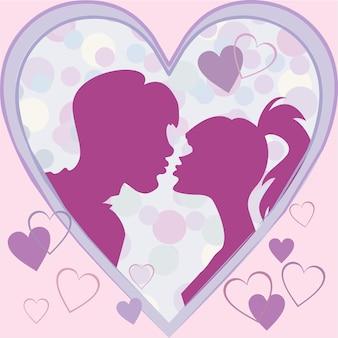 シルエットは心のフレームで女の子と男にキスします