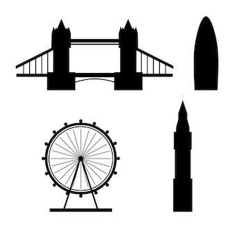 Silhouettes of london famous landmarks isolated on white