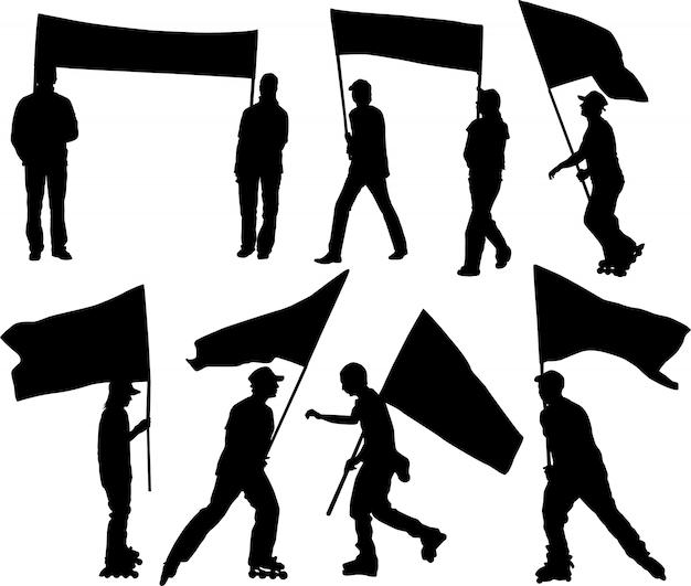 シルエットの男性と女性の旗と透明性