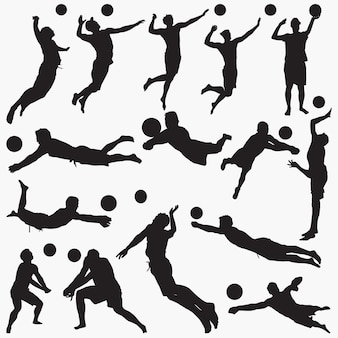 Silhouettes man volleyball set