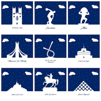 Silhouettes of monuments