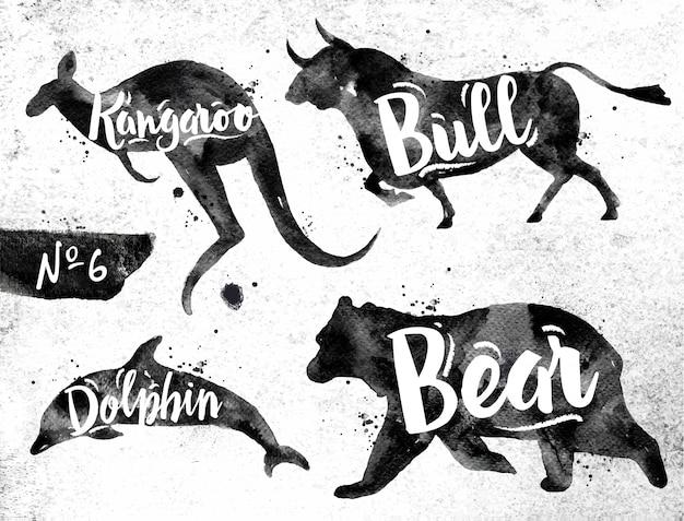 動物のイルカ、クマ、ブル、カンガルーのシルエット