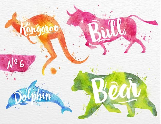 動物の水彩画のシルエット
