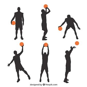 Силуэты баскетболистов с цветным шаром