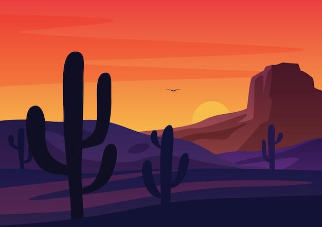 밝은 일몰 일몰 하늘을 배경으로 건조한 사막에서 성장하는 선인장의 실루엣