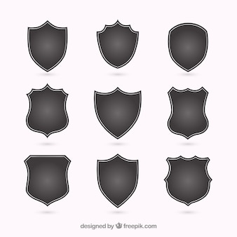 Silhouettes of different shields