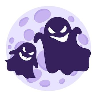 보름달에 대해 다른 감정으로 날아다니는 유령이나 유령의 실루엣. 프리미엄 벡터