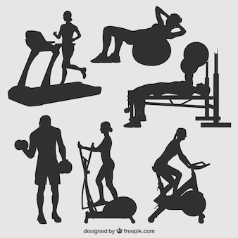 Silhouettes of gym