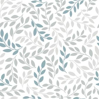 Силуэты идентичных листьев бесшовные модели. рисованной иллюстрации в простом скандинавском стиле каракули мультяшный изолированные серо-голубые ветви на белом фоне