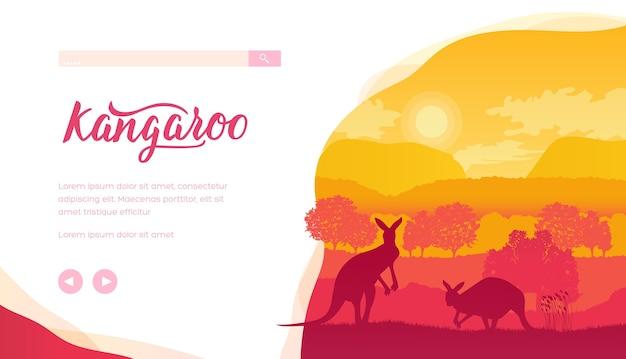 일몰 동안 캥거루, 나무, 언덕의 실루엣. 동물과 식물이있는 호주 야생 동물.