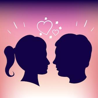 Силуэты влюбленных. розовый фон. девочка и мальчик