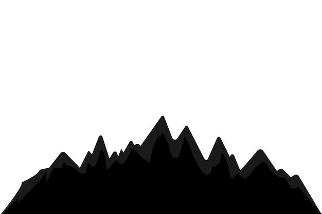 白い背景の上の山のシルエット。屋外のデザイン要素のベクトルを設定します。
