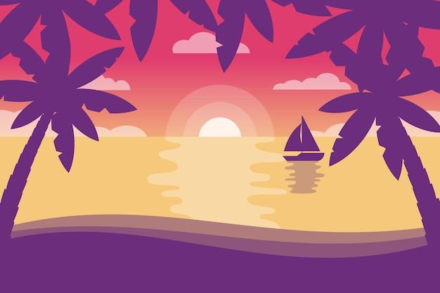 Силуэты пальмовых летних фонов для видеосвязи