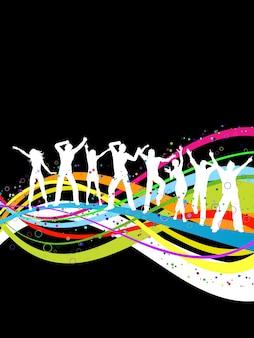 다채로운 추상적 인 배경에 춤 사람들의 실루엣