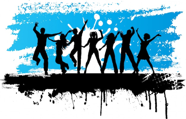 Силуэты людей, танцующих на фоне гранж