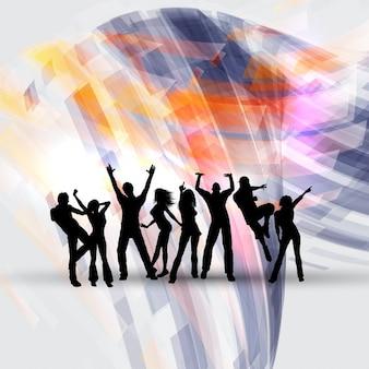 抽象的な背景に踊る人々のシルエット