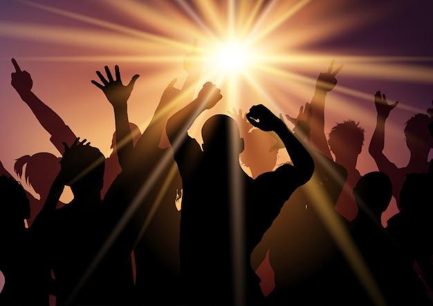 Силуэты людей, танцующих на дискотеке