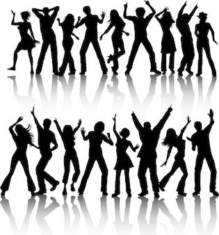 춤추는 사람들의 실루엣