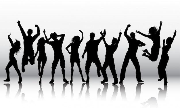 人の踊りのシルエット