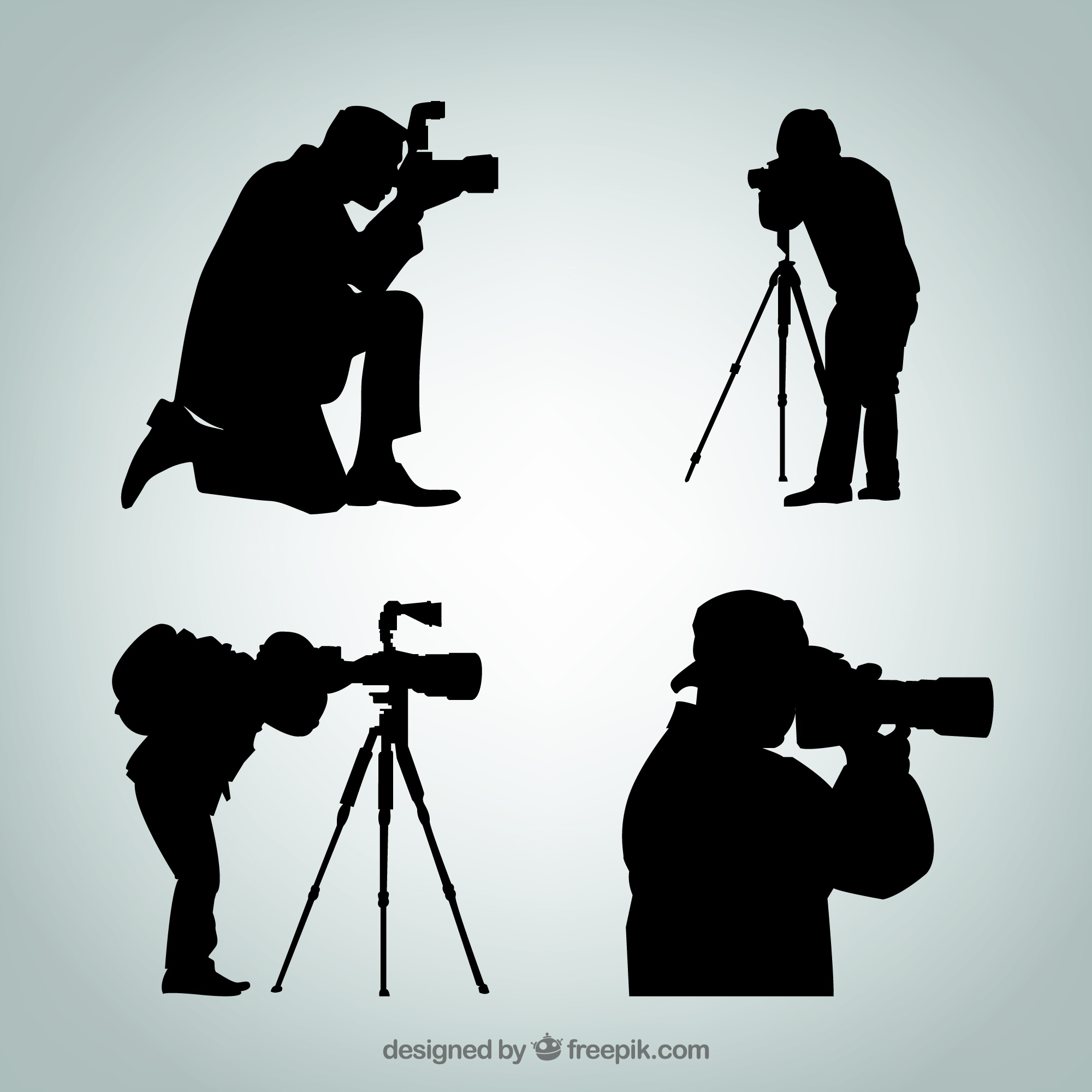 Silhouettes of photographer