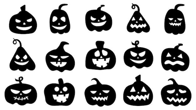 さまざまな表情のカボチャのシルエット。ハロウィーンのカボチャの漫画のキャラクター。感情とカボチャの黒いアイコン。ベクトルイラスト。