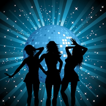 Silhouettes of sexy females on mirror ball background