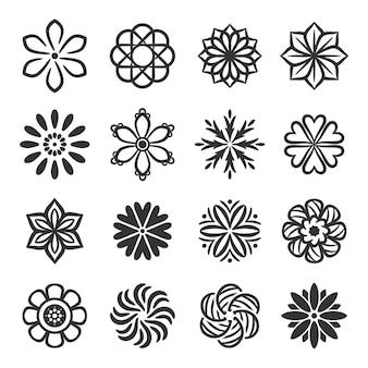 Силуэты простых векторных цветов