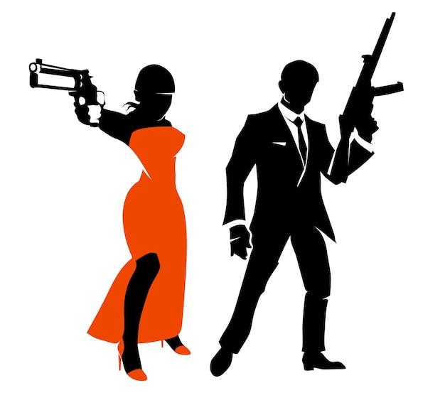 Силуэты шпионской пары. женщина с оружием в красном платье, гангстер или секретный агент. векторные иллюстрации персонажей