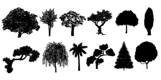 나무 큰 컬렉션의 실루엣입니다.