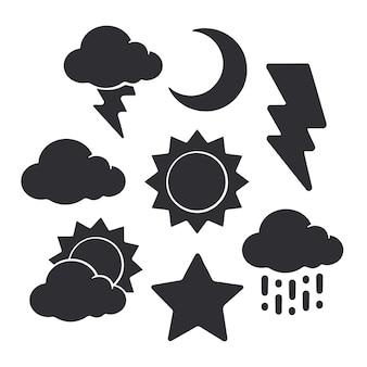 Силуэты символов погоды векторные иллюстрации набор солнца полумесяц звезды облако молнии