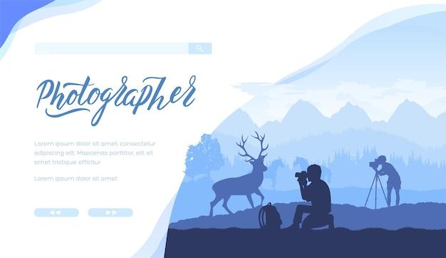 야생 동물 사진 작가의 실루엣. 숲, 산, 동물, 남자와 푸른 풍경.