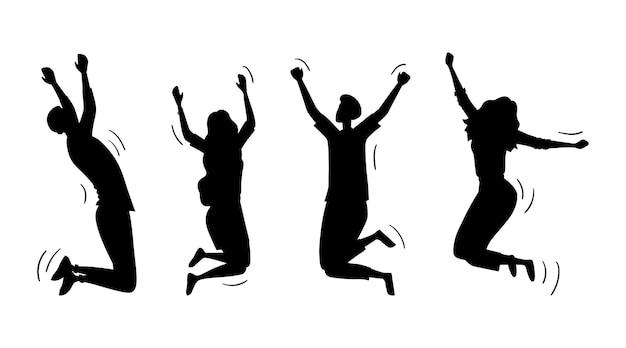 Силуэты молодых забавных подростков, мальчиков и девочек, прыгают вместе