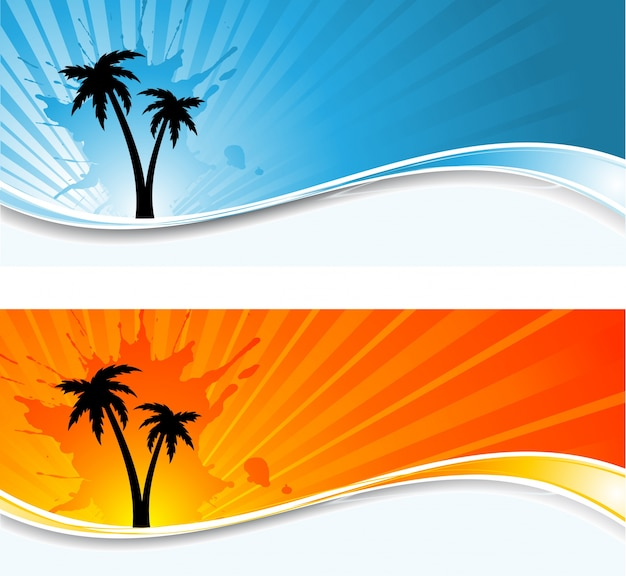 Silhouettes of palm trees on sunburst backgrounds