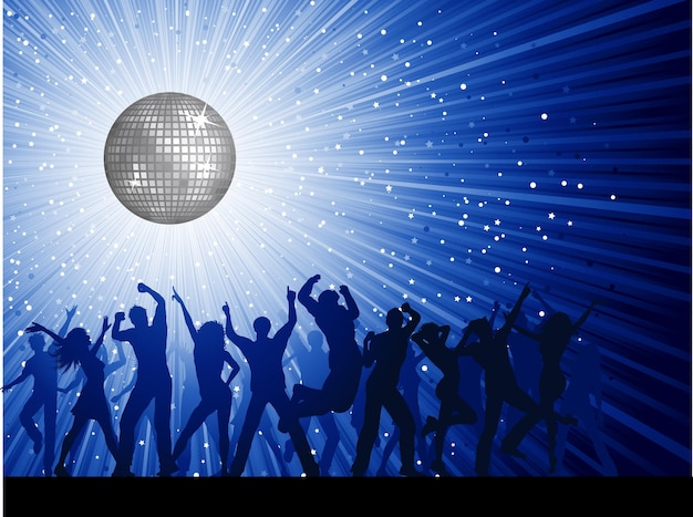 Silhouettes of party people on a mirror ball disco background