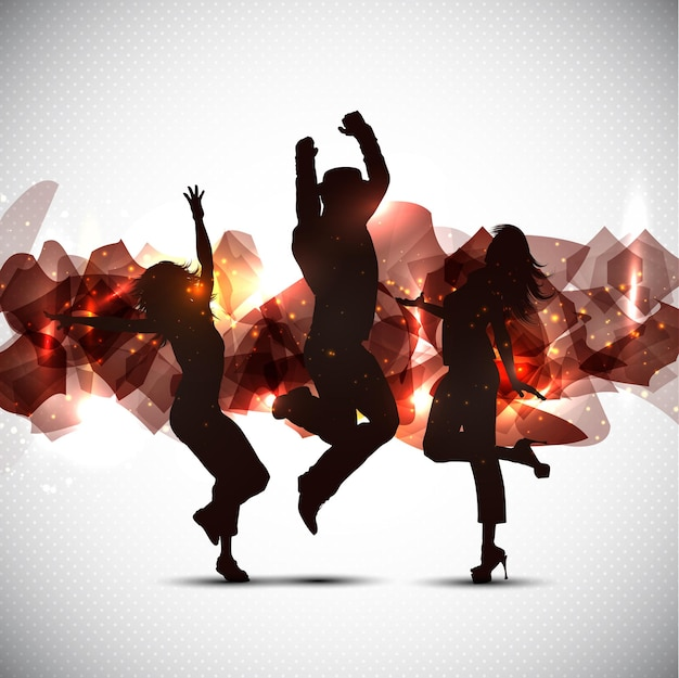 Silhouettes of people dancing on an abstract surface