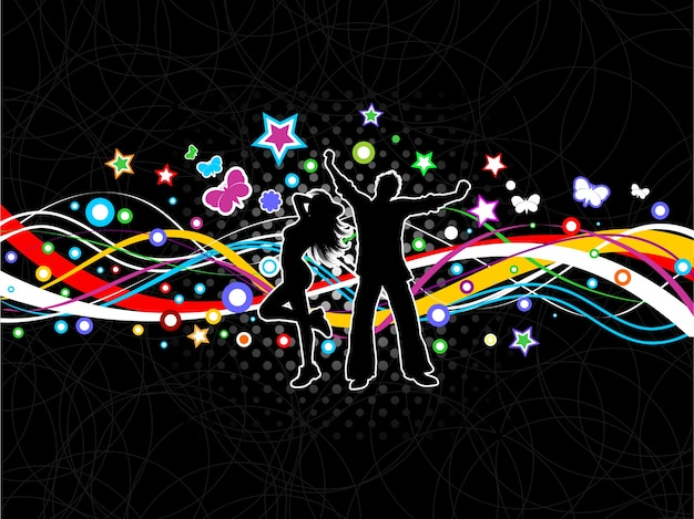 Silhouettes of people dancing on a colourful abstract background