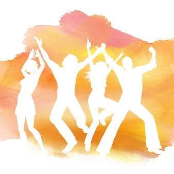 Sagome di persone che ballano su uno sfondo acquerello